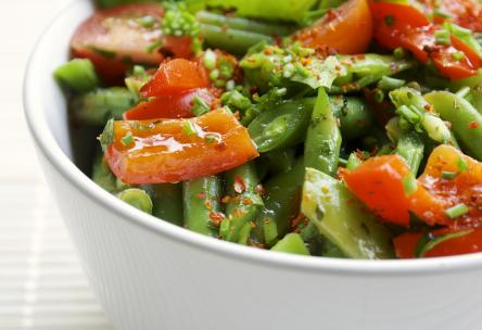 Green Salad With Snap Peas And Sun-Dried Tomatoes